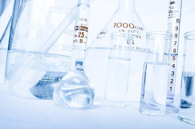 laboratory bottles and measuring equipment