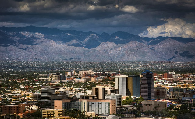 view of Tucson city and the mountains in the background