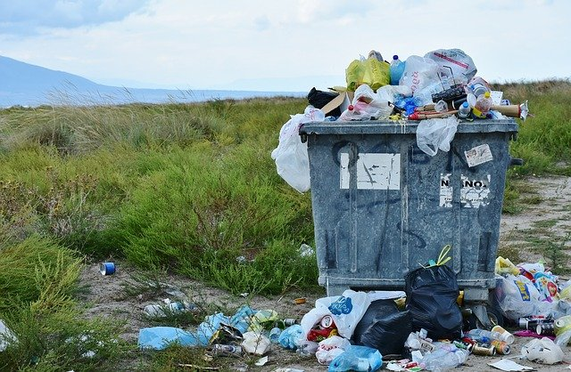 Large dumpster overflowing with trash in a green field