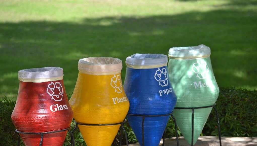 recycling bins in the park - recycling statistics cover
