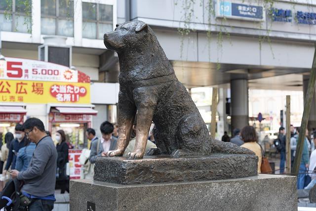 Hachiko statue outside Shibuya Station in Tokyo, Japan.